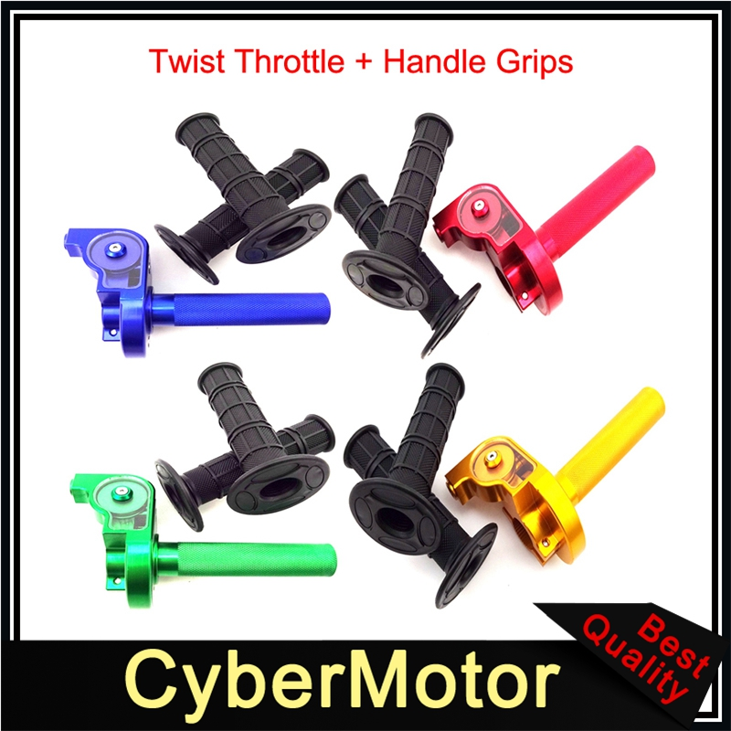Black Rubber Twist Throttle Handle Hand Grips ATV YCF Pit Dirt Bike Moto Cross