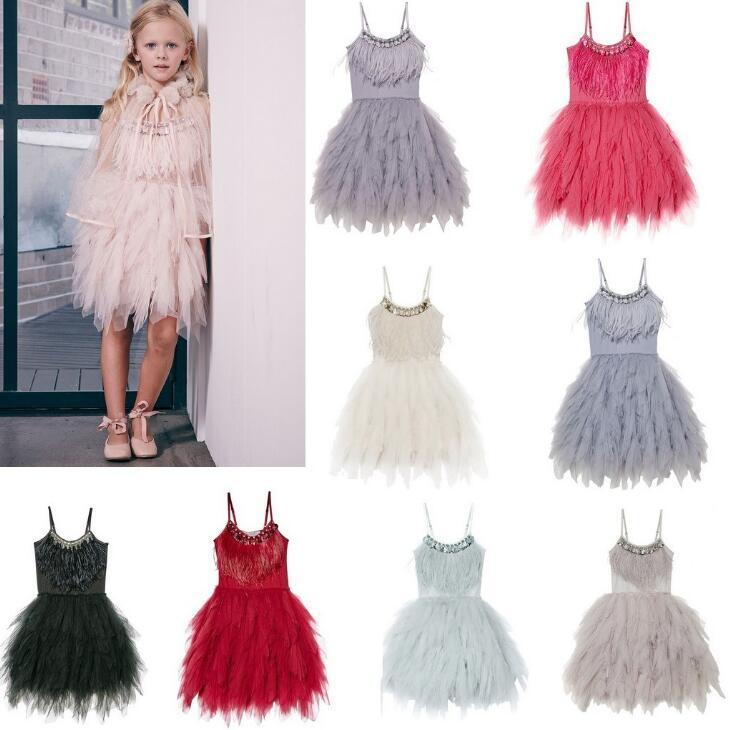 Girls Swan Dance Ballet Costume Feather Tassel Ball Gown Wedding Birthday Dress