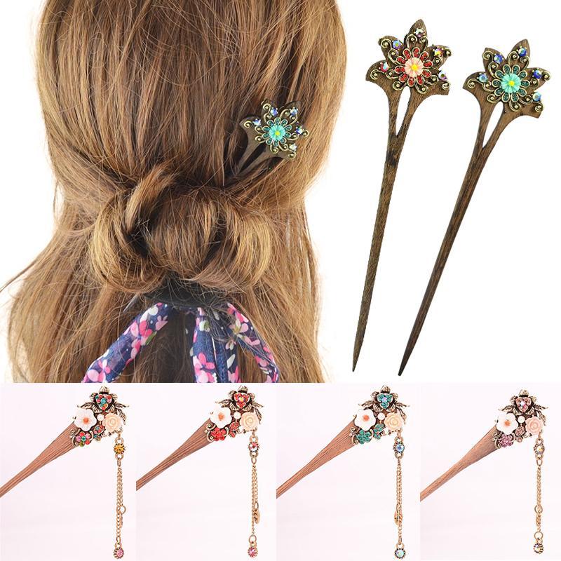 Natural Wood Hair Pin Classic Hairpin Vintage Women Ladies Jewelry Hair Sticks