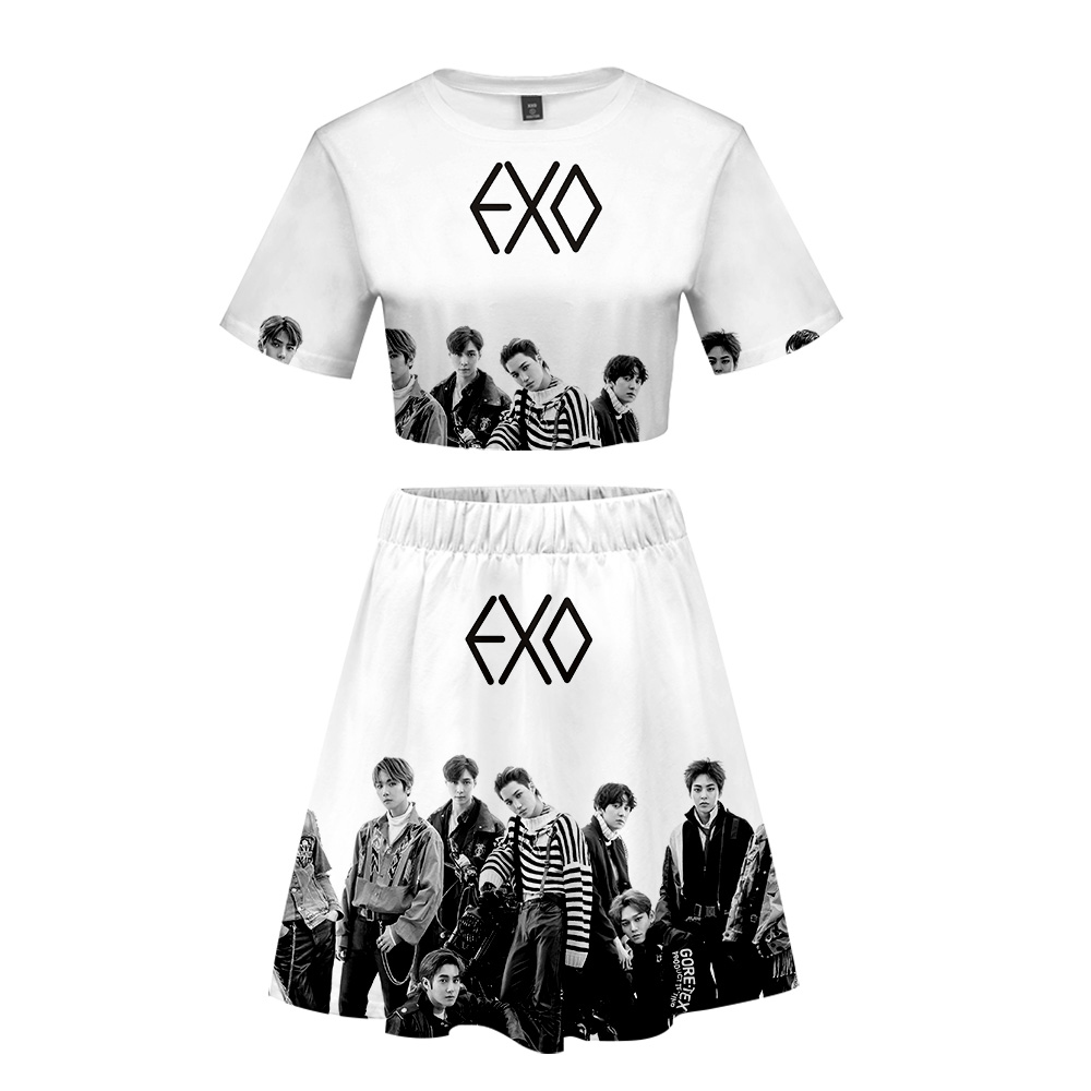 3D EXO LOVE SHOT Women's Summer Two Piece Sets Top and Skirts Dress Woman Casual Hip Hop Streetwear Sets Lady Outfits for Women