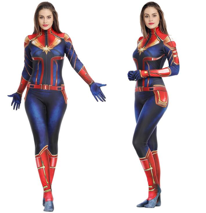 2019 Halloween Zentai Jumpsuit Cosplay Captain Marvel Costume Plugsuit Superhero