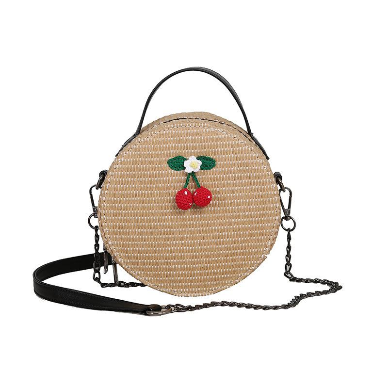 New Women Circle Handbag Summer INS Popular Female Straw Bag Cherry Lady Knit Shoulder Bag Fashion Holiday Crossbody SS7314 (9)