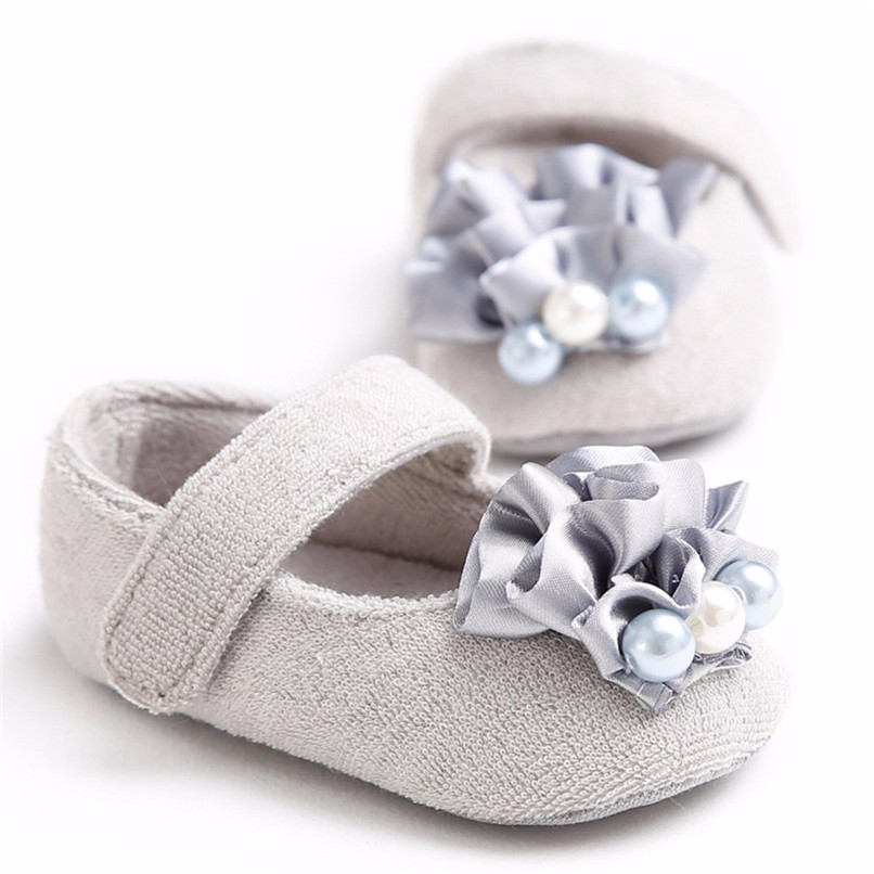 Baby Girls Shoes Fashion Newborn Infant Baby Girls Flower Pearl Soft Sole Anti-slip Princess Shoes Baby First Walker JE25#F (27)