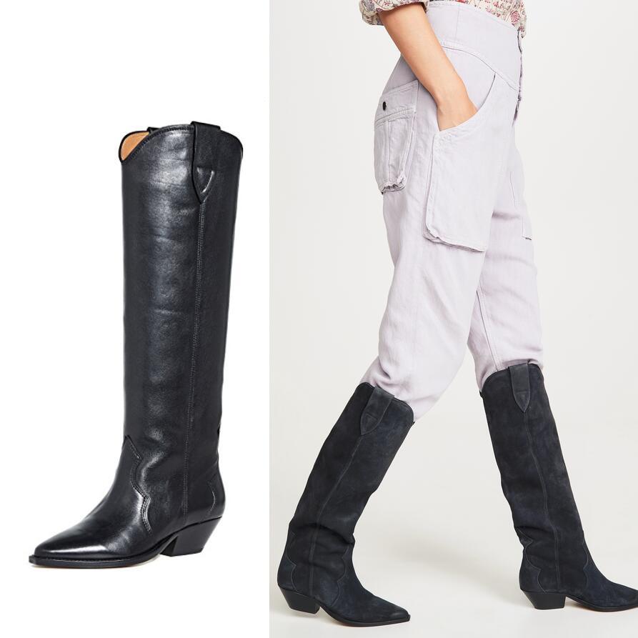 Winter Mode Overkneestiefel Reißverschluss Damen runde zehe hoheniedrig Absätze