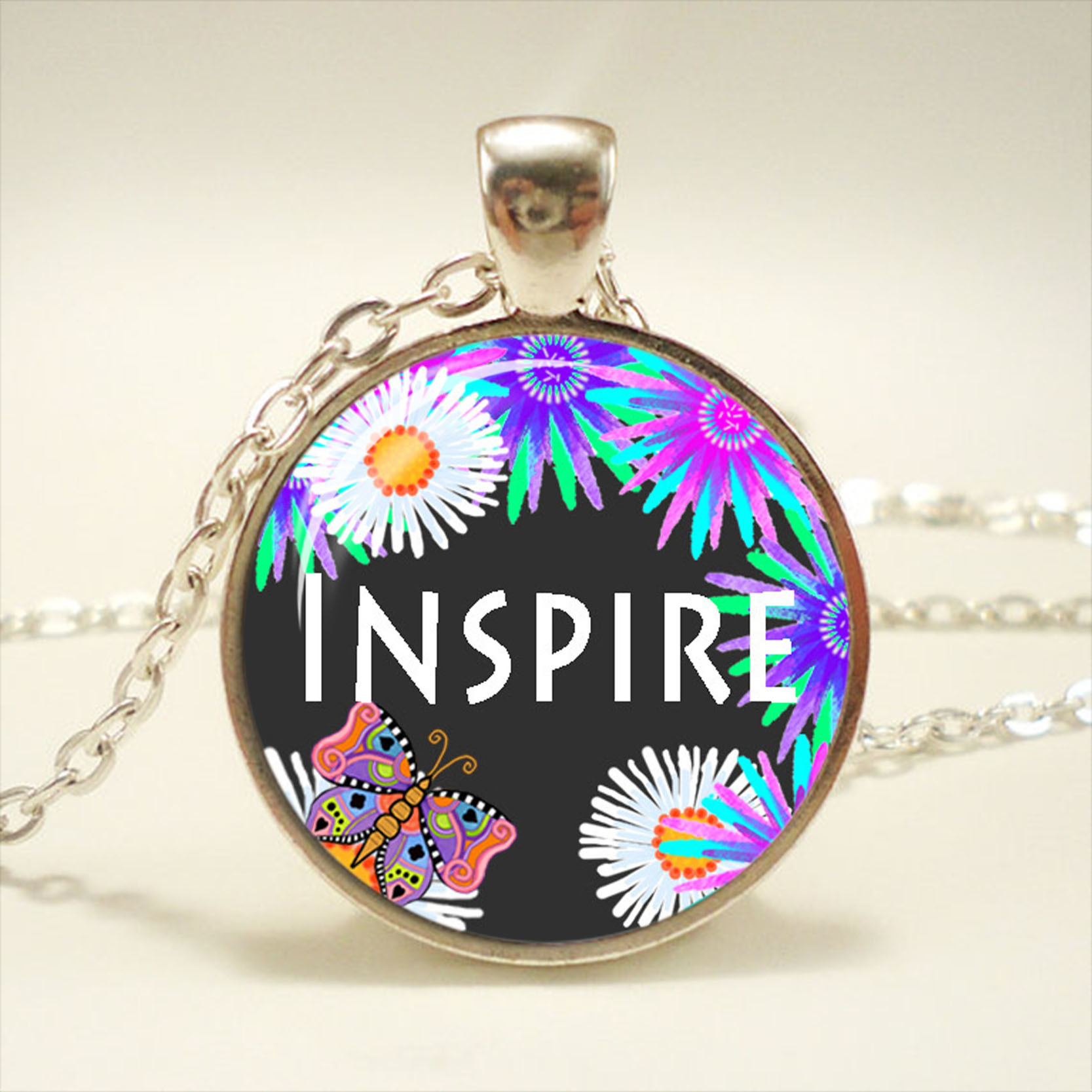 HOPE Religious Faith Floral Glass dome Necklace chain Pendant Wholesale Silver