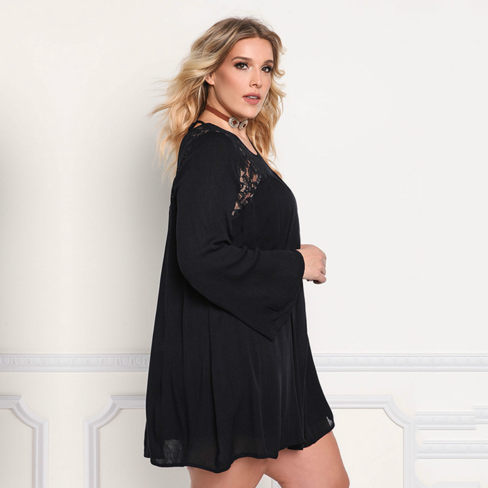 European and American Spring and Summer Large Dress Long Sleeved Lace Splice Loose Dress Fat MM Fat Woman Dress