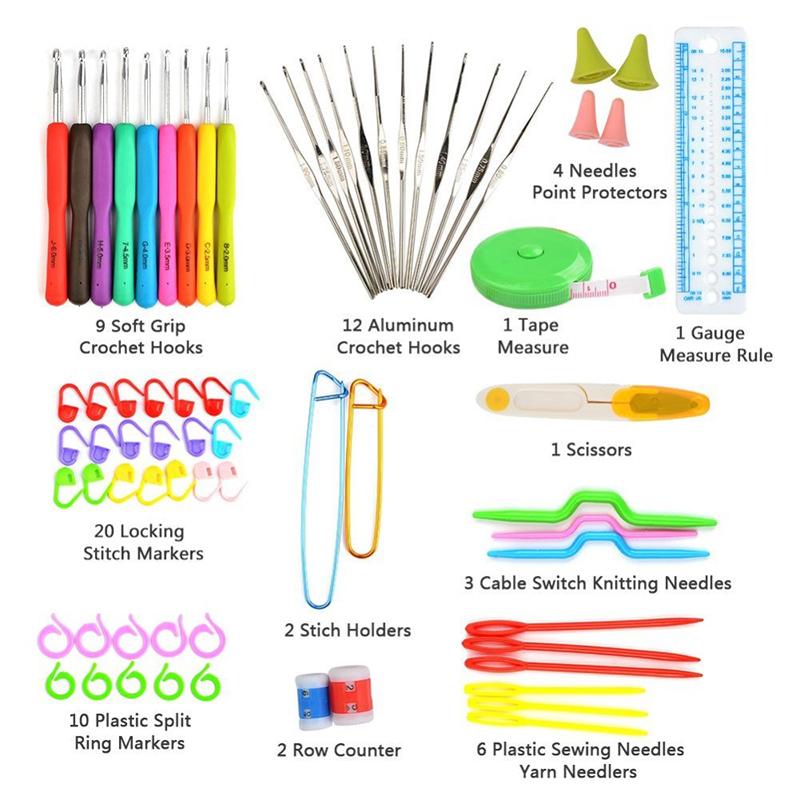 Crochet Hooks Mix 21 Sizes Soft Rubber Handle Yarn Knitting Needle Set With Blue Case Women Diy Craft Tools Accessory Q190531