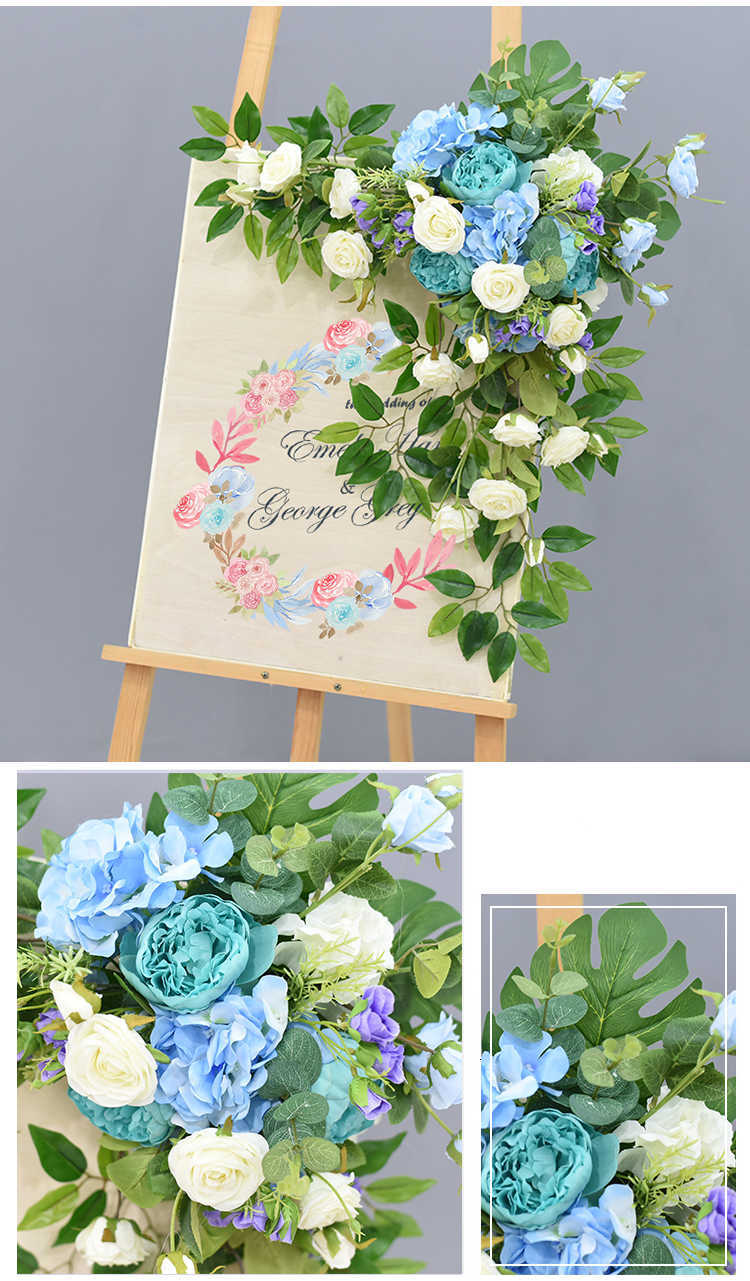 JAROWN Wedding Flower Row Welcome Sign Simulation Floral Hotel Creative Guide Decorations Photography Props Home Door Flower (12)