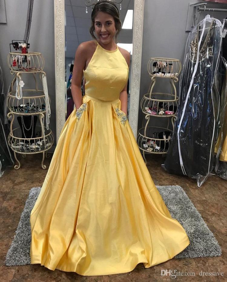 Yellow Prom Dresses 2018 Open Back Evening Party Dress With Beads Pocket Robe de soiree