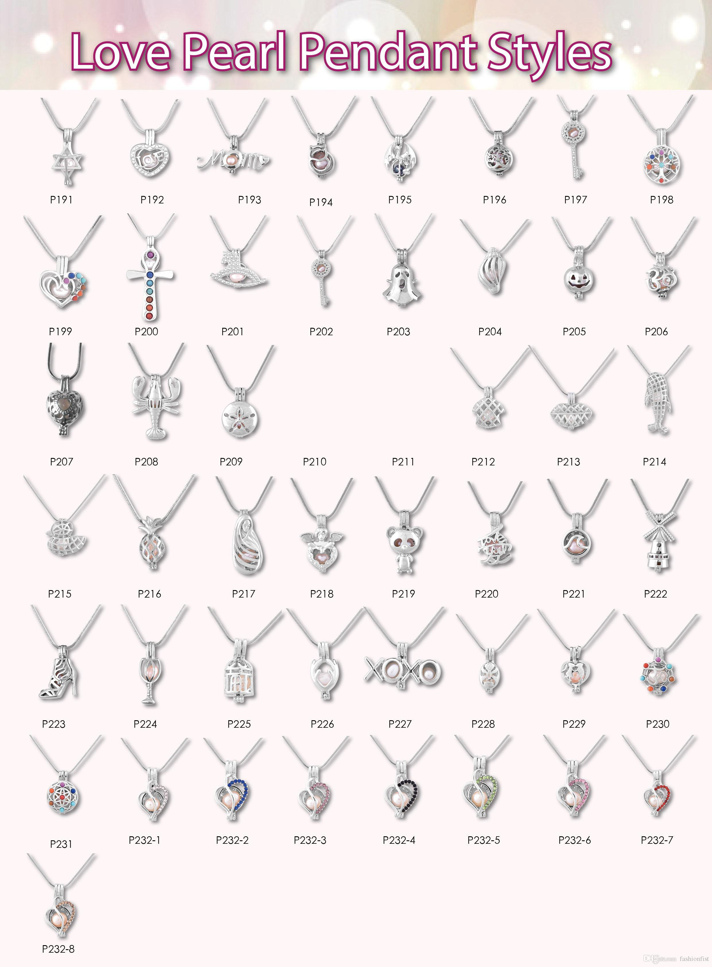 Mix 355 Style cage IN STOCK 18kgp love pearl cage Wholesale pendant locket cages Pendants, DIY Pearl Necklace charm pendants mountings