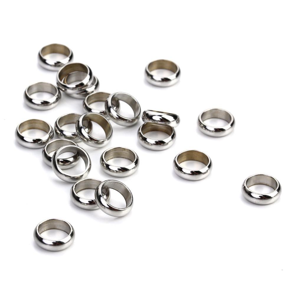 50Pcs en Acier Inoxydable Avec Trou Spacer Beads Fit Bracelet Collier Making