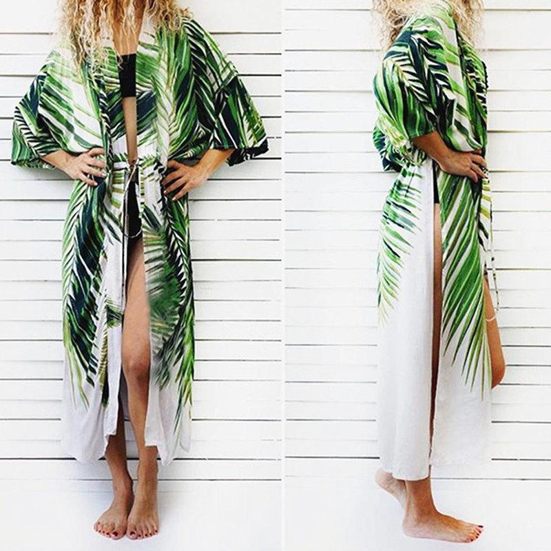 Women Cover Up Beach Cardigan 2019 Cotton Beach Dress Tunic Long Kaftan Beachwear Pareo Bikini Cover-ups Swimsuit Robe De Plage J190618