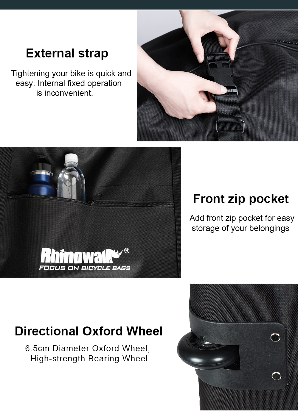 Rhinowalk Folding Bicycle Storage Bag Oxford Wear-resisting Luggage Cases for 20-22 Inch Folding Bike Electric Vehicles (13)