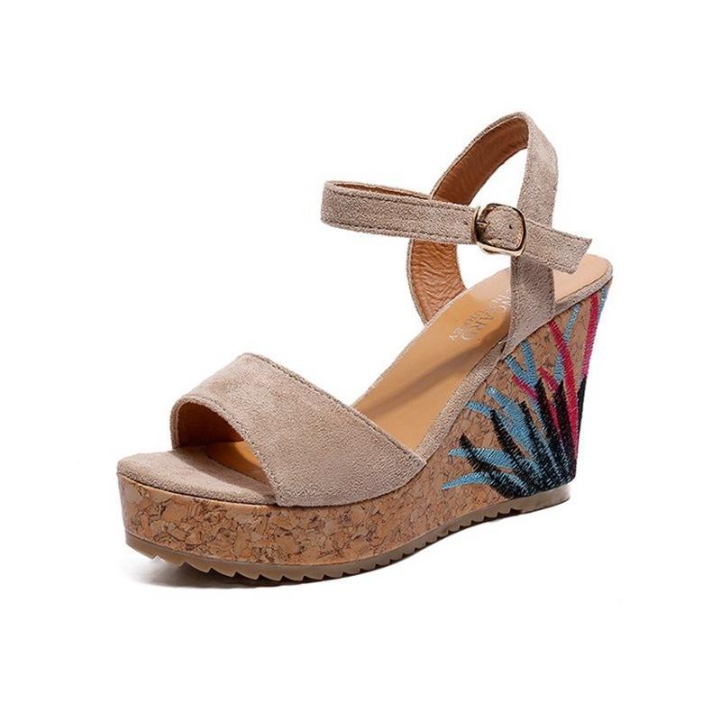 COOTELILI High Heels Women Summer Shoes Women Sandals Summer Shoes Women Open Toe Embroidery Beach Sandals 35-39 (7)
