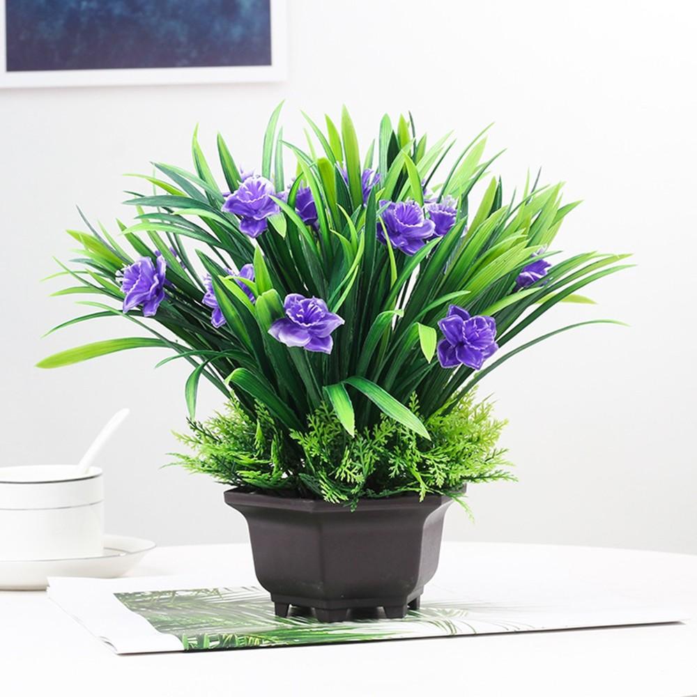 Gros Pot Fleur Plastique simulation salon de fleurs décoration en pot simulation orchidée en  plastique bonsaï décoration de fleur artificielle intérieure