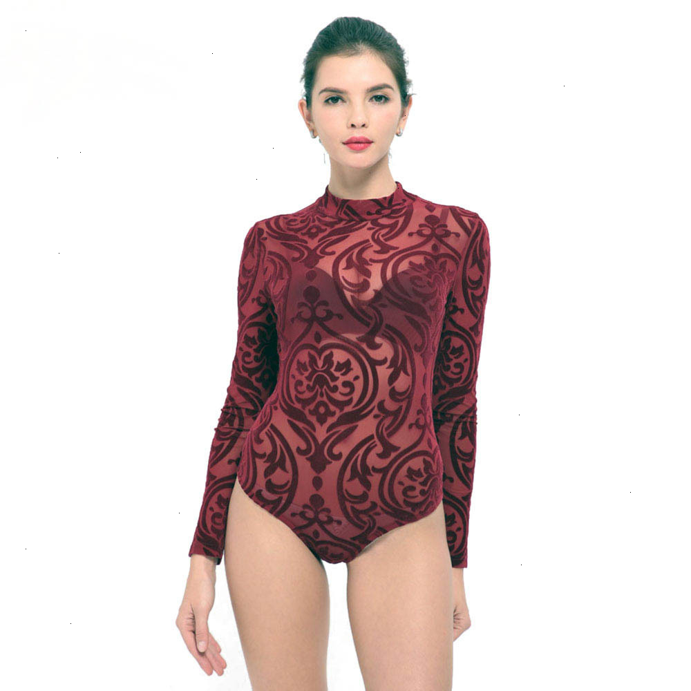 IDress New Arrival BlackBlue Red Macacao Feminino Mesh Shorts Femme Playsuit Overalls for Woman Long Sleeve Sexy Bodysuit (12)