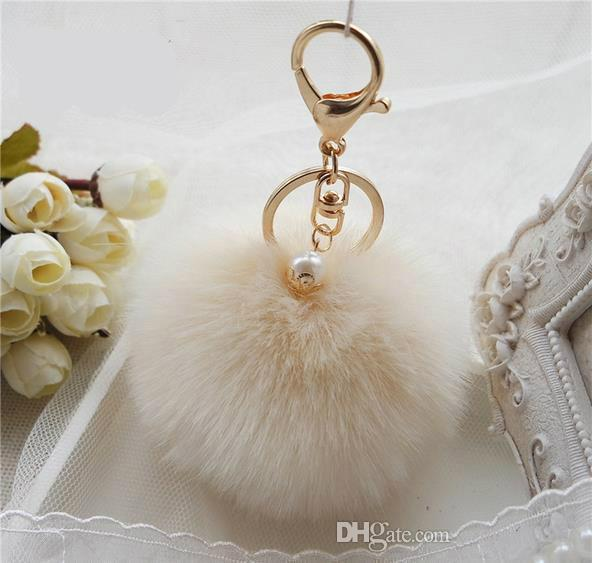 Cute Faux Rabbit fur ball plush key chain for car key ring Bag Pendant car keychain