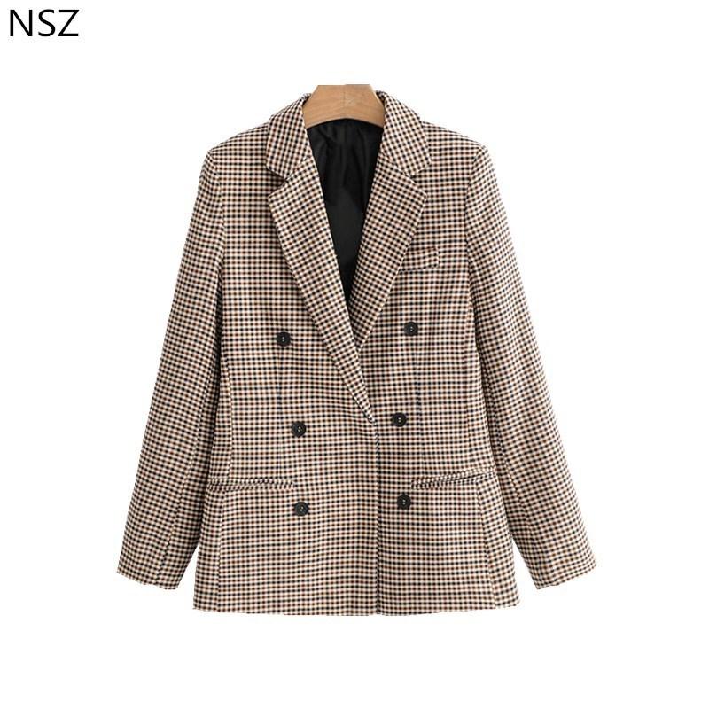 NSZ Mulheres Xadrez Blazer Manga Comprida Double Breasted Fino Verificado Casaco Formal Jaqueta Escritório Terno Senhora Outerwear Sprint Outono T5190612