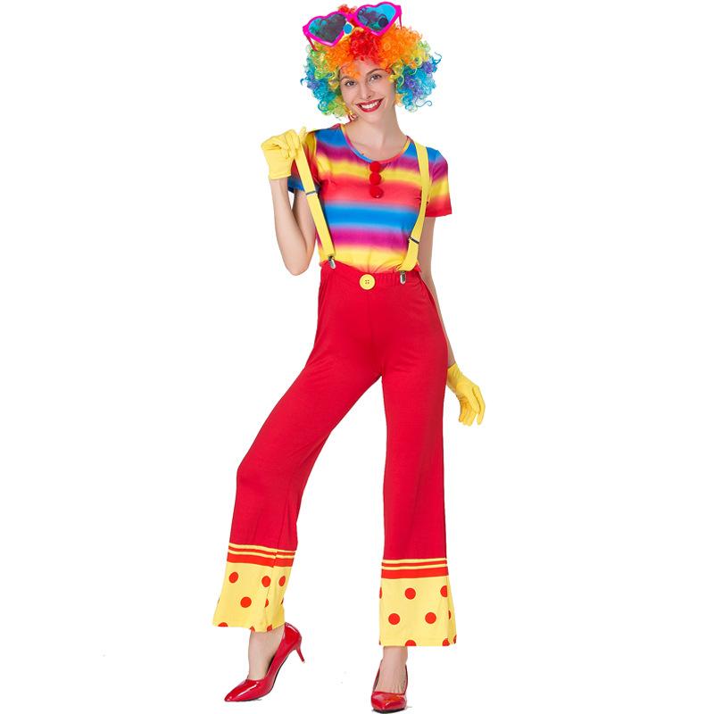 CIRCO CLOWN ADULTO CERCHI Carnevale Costume Da Uomo Donna Fancy Dress Party Vestito