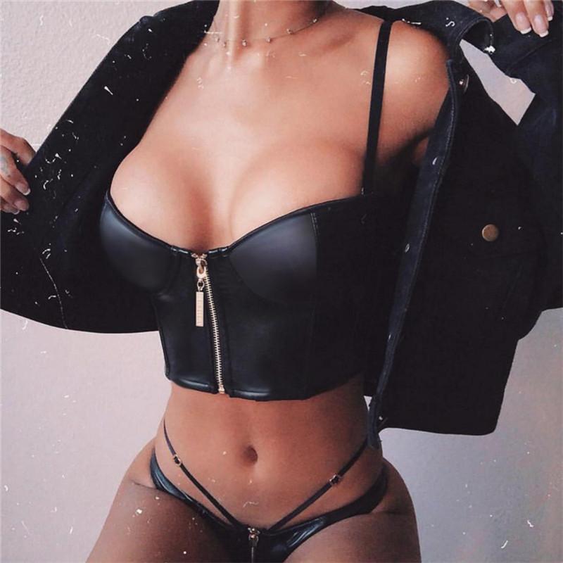 Slaygirl PU Sexy Women Solid Strappy Tank 2019 Vest Crop Top Summer Beach Party Sleeveless Slash Neck Tanks Women Girls Tank Top