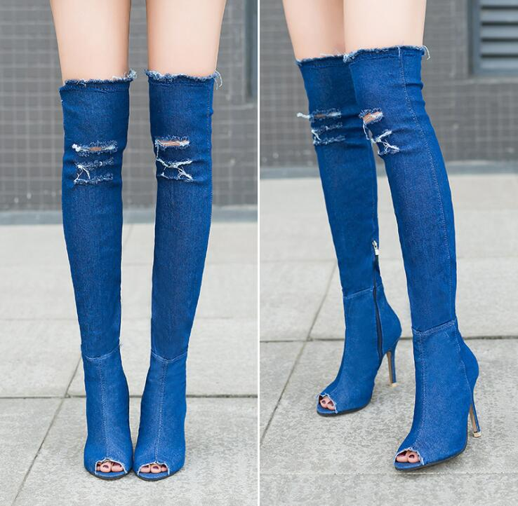 2021 Sexy Women Summer Autumn Peep Toe Over The Knee Thigh High Boots Elastic Denim Jeans Heeled Pumps Shoes Ladies