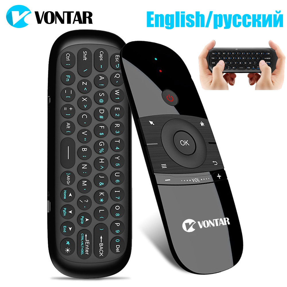 Color: Black English Calvas G7 2.4G Backlit Wireless Air Mouse with Keyboard 6-Axis Gyro Smart Remote Control For X96 Tv box Russian//English Double Sided