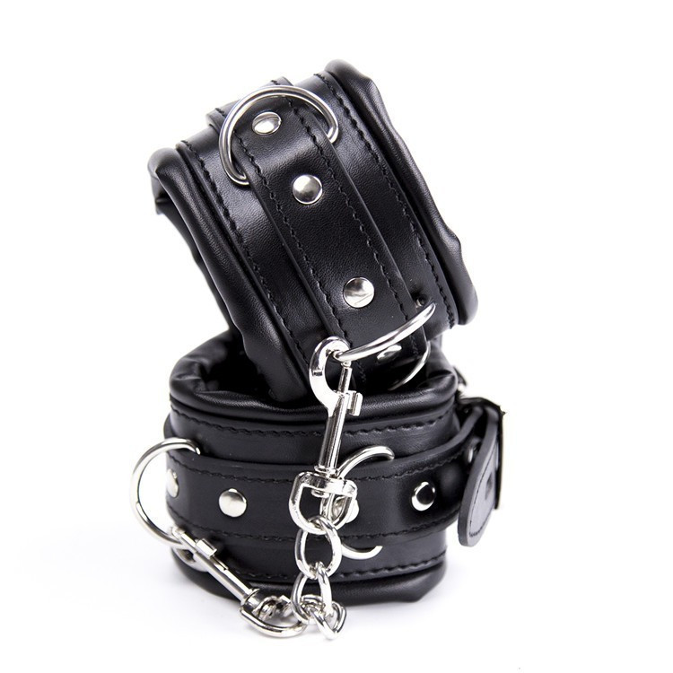 Black PU Leather Hands Cuffs & Ankle Cuffs & Neck Collar Set ,Soft Padded Bondage Kit,BDSM Bondage Retraint Sex Toys For Couple