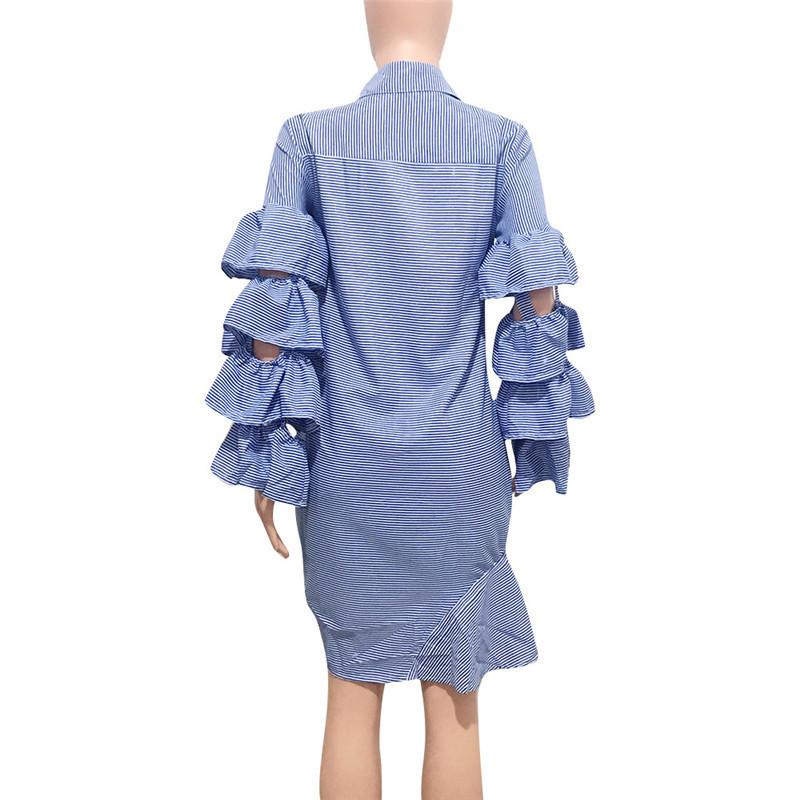 Blue Striped Irregular Shirt Dress Women Layered Ruffles Sleeve Button Up Knee-length Midi Dress Drawstring Party Casual Dresses Y19051001