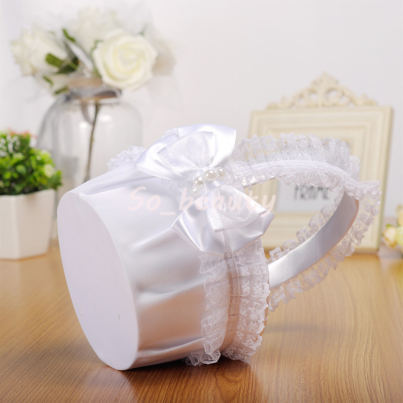 White Lace Flower Girl Basket Elegant Satin With Bow knot Round Lace Basket Wedding Favors Wedding Decoration L8316 New