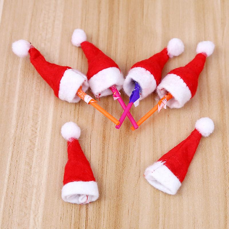 30pcs Mini Weihnachtsmütze Weihnachtsweihnachtsfeiertags Lutscher-Top-Deko