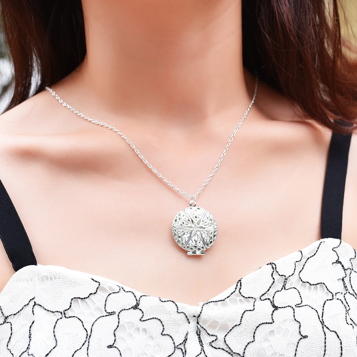 Valentine Lover Gift Holliow Out Water Drop Shell Photo Frames Can Open Locket Necklaces Silver Plated Heart Pendants Necklace