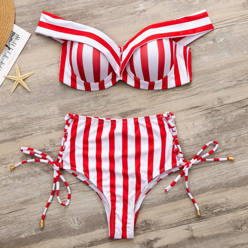 Off Shoulder Swimwear Women Striped Swimsuit Women Bandage Two-piece Suit High Waist Bikinis 2019 Mujer Lace Up Biquini
