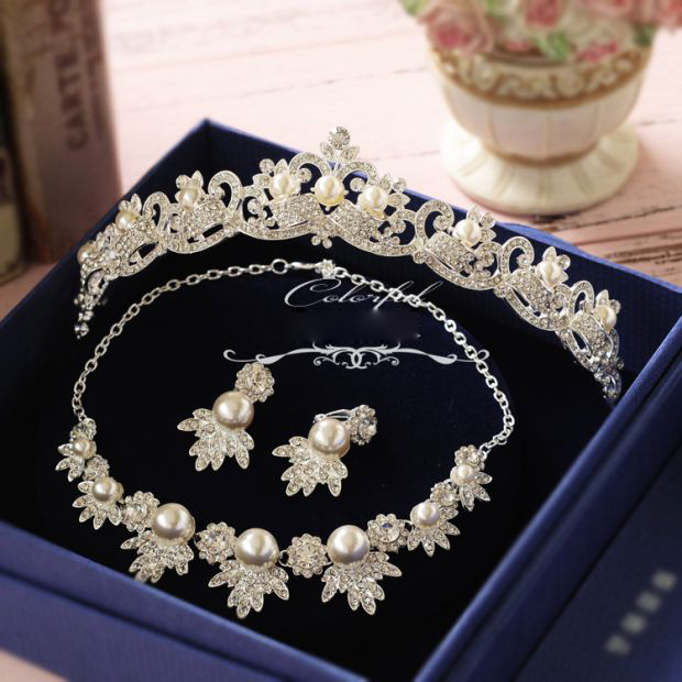 Korean rhinestone simulated pearl bridal necklace ...