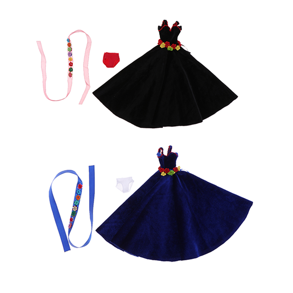 12inch Fashion Girl Dolls Stylish Party Costume Flannel Evening Dress Gown & Ribbon For Blythe Doll Accessory