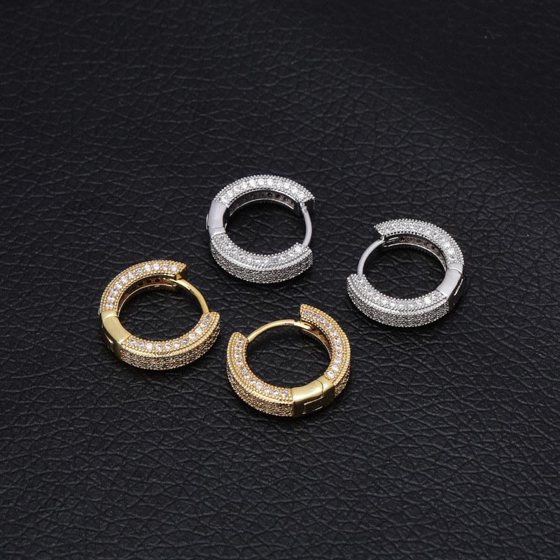 """Thick Silver Tone Hoop Huggie Pierced Earrings 13//16/"""""""