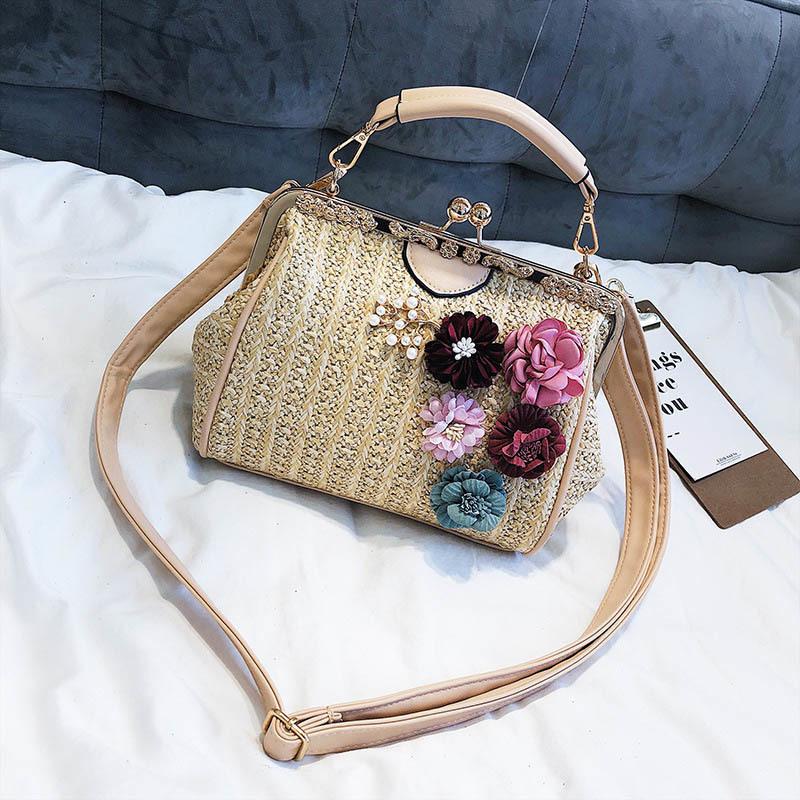 Women Pearl Handbag INS Popular Female Summer Flower Straw Bag Lady Fashion Shoulder Bag Travel Beach Woven Crossbody Bag SS7220 (7)