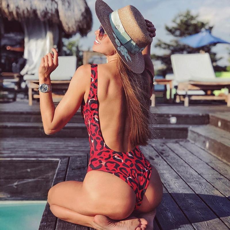 Leopard Print Strap Backless Slim Skinny Bodycon Sexy Women Beach Bikini Swimsuit Swimwear Bodysuit Lingerie Bra Bathing Suit