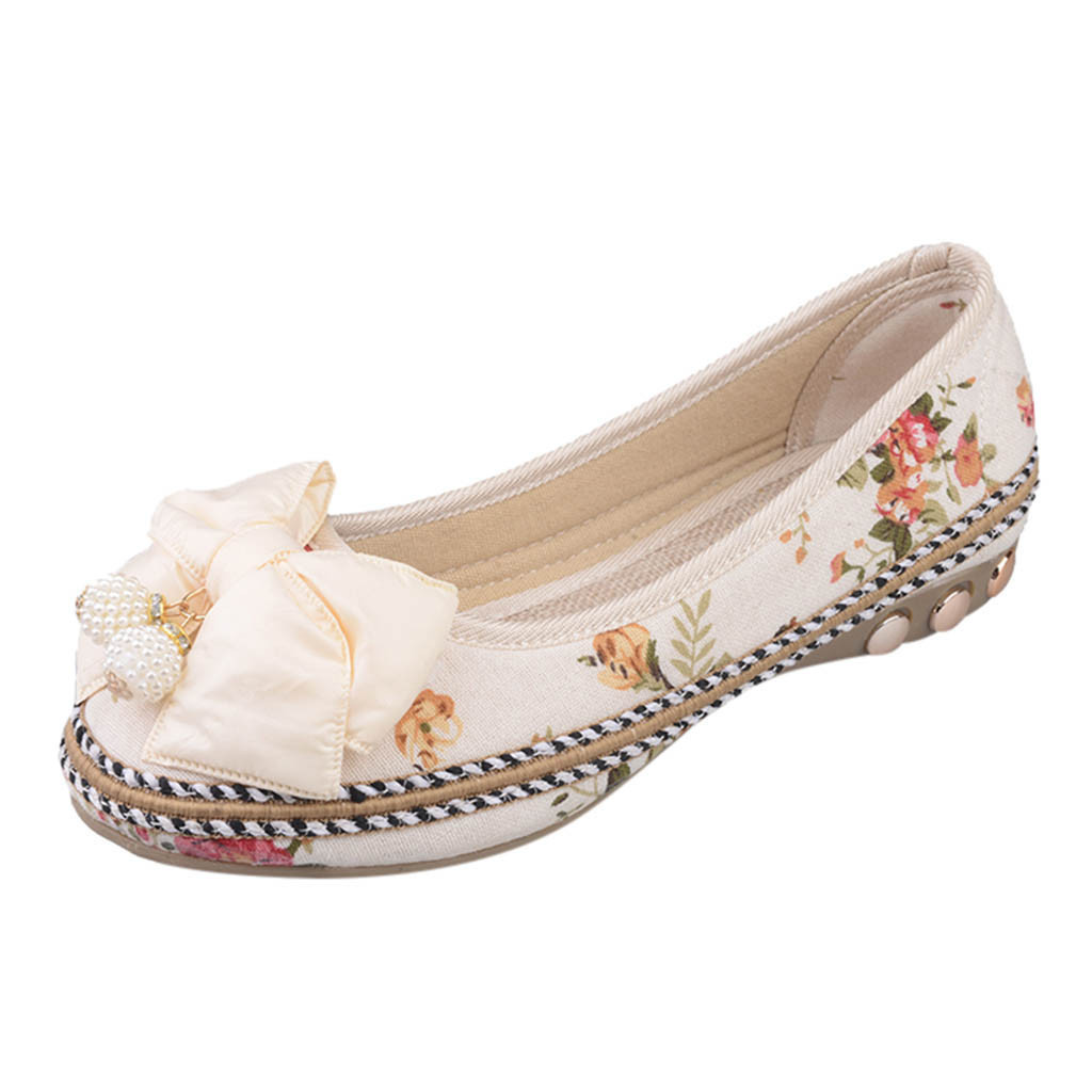 Designer Dress Shoes Fashion Women Girls Round Toe Print Flower Casual Ethnic Style Butterfly Knot Embroider Shallow Mouth Wild Single