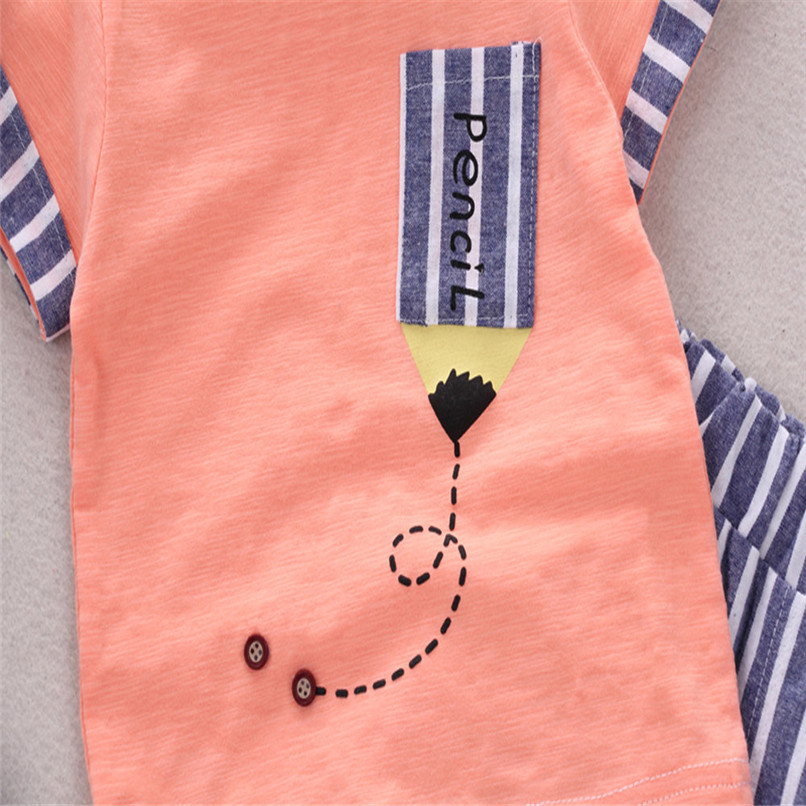 2PCS Baby Boys Sets Toddler Infant Kids Baby Boys Short Sleeve Cartoon Pencil T-shirt Tops+Striped Pants Set Baby Clothes M8Y18 (10)