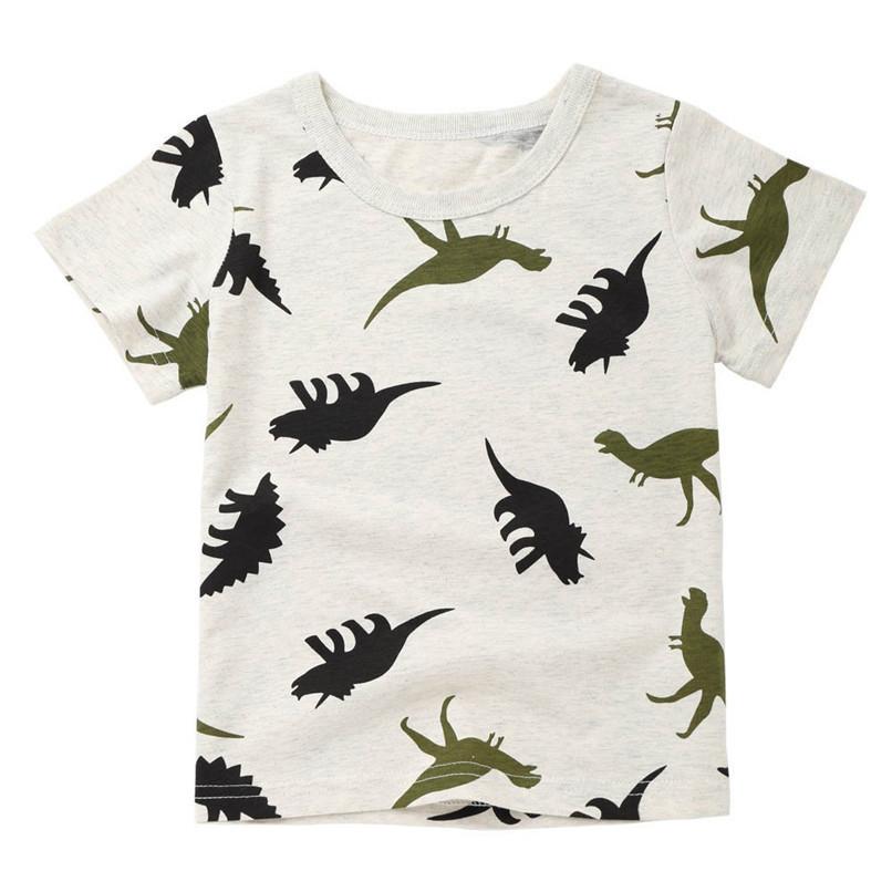 Summer Baby Boy Tops And Tees Children Infant Kid Boys Short Sleeve Cartoon Dinosaur Print T-shirt Tops Baby Boy Clothes M8Y24 (1)