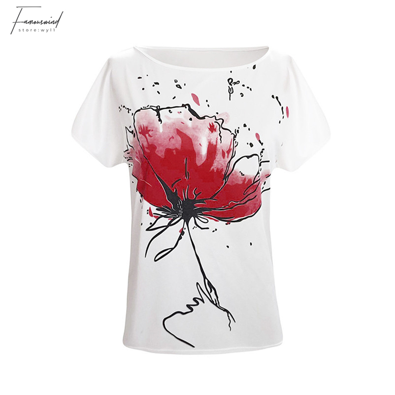 Floral Print Blouse Short Sleeve Loose Top Women Girls T-shirts Casual Loose Tops Soft Clothing For Women Girls 40JA10 (2)