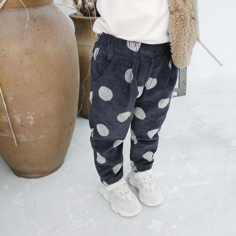 Autumn Winter Baby Girls Corduroy Pants Thicken Kids Boys Trousers Casual Elastic Velvet Warm Pants Girl Bottom Children Clothes