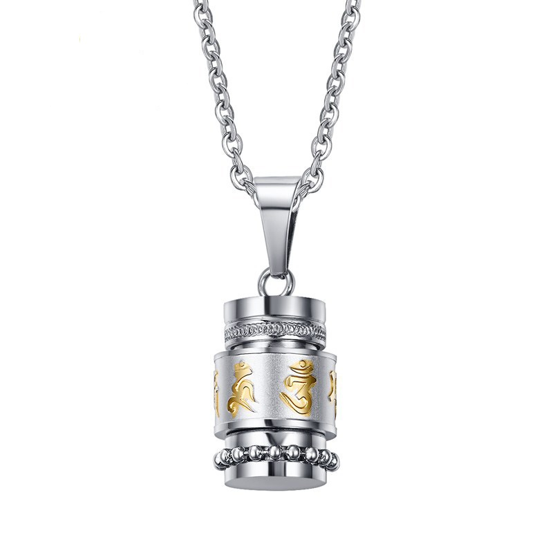 STai Retro Tibetan Buddhism Male Female Pendant Necklace Engraved with Six Words