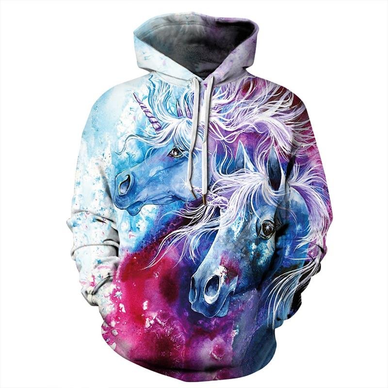 Crochi Fashion Unicorn Printed Hooded Women Sweatshirt Kawaii Clothes Galaxy Hoodies