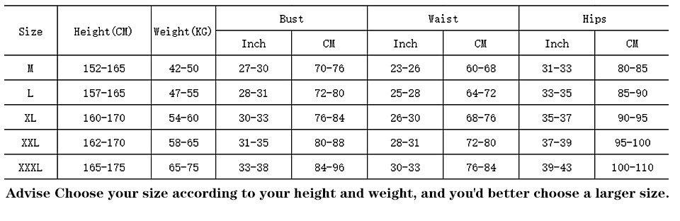 1 1Advise Choose your size according to your height and weight, and you