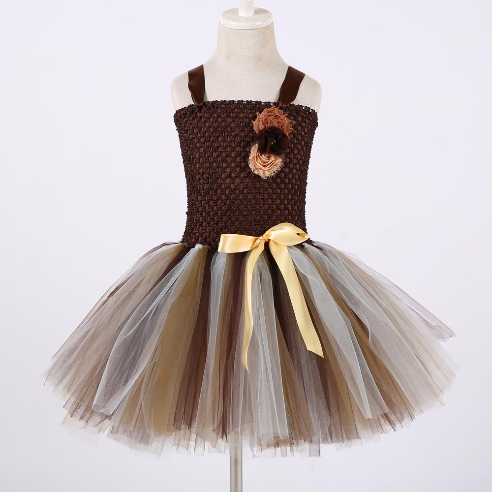 Brown Flower Girls Tutu Dress Children Cosplay Animal Lion Costume Dress Up Fancy Girl Kids Halloween Birthday Party Dress 1-14y J190614