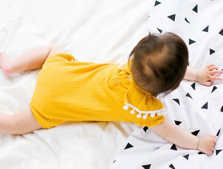 Cute Newborn Baby Girl Romper 2017 Summer short sleeve Princess fur ball Sunsuit One Pieces Tassel Clothes free drop shipping (9)