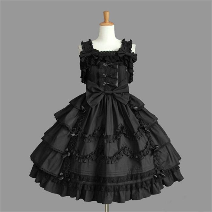 US Sale Women Black Lolita Anime Fancy Dress Cute Party With T-shirt Costume