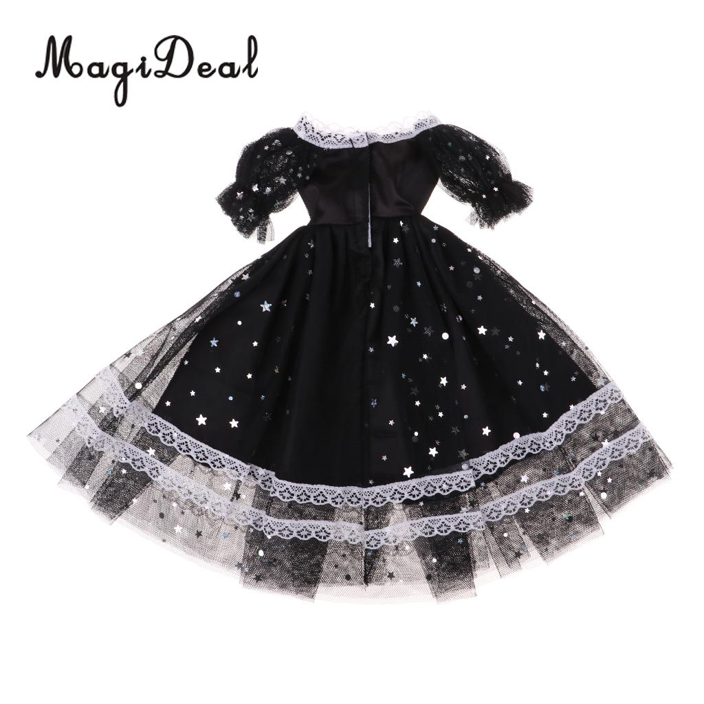 1/3 Cute Star Pattern Princess Gauzy Dress with Lace Trim for BJD Dolls Changing Accessories Black