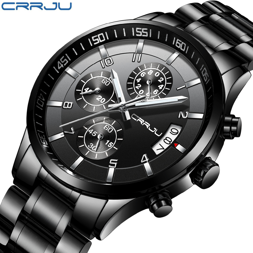 CRRJU Brand Men Chronograph Luxury Waterproof Watches,Fashion Black Business Stainless Steel Clock For Men relogio masculino